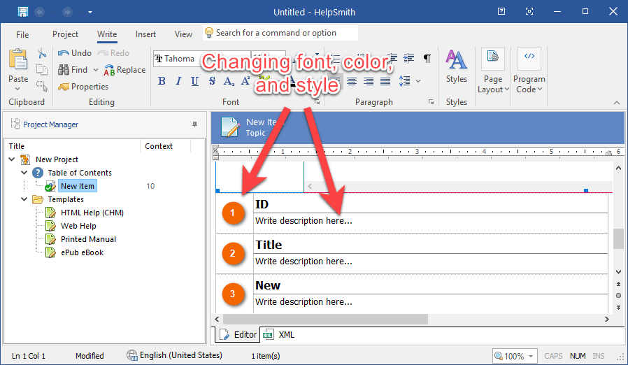 Changing style of annotation tables