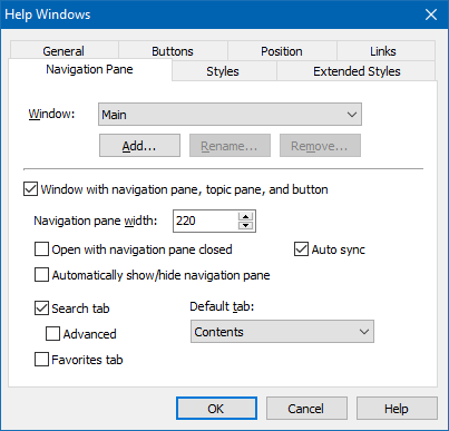 Navigation Pane Settings